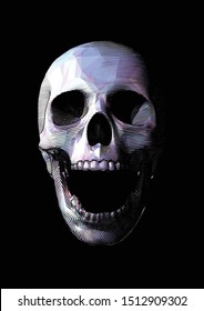 Stylized engraved drawing on polygonal purple screaming human skull front view illustration isolated on black background