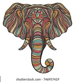 Stylized ethnic boho elephant portrait isolated on white background. Decorative hand drawn doodle vector illustration