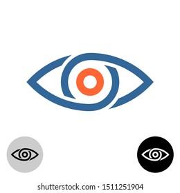 Stylized eye logo. Chain segments or drops around apple of eye.