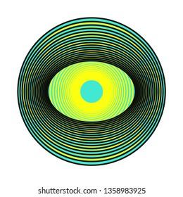 stylized eye symbol in pop yellow blue on white