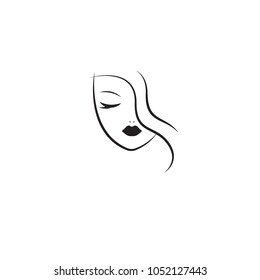 Stylized face of woman. Linear female head with closed eyes, long lashes, skin care, logo, beauty salon icon. Vector illustration