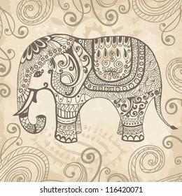 程式化的幻想图案大象. 手绘矢量插图。 可与背景分开使用
