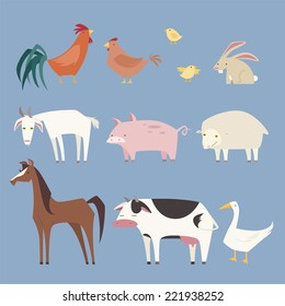 Stylized Farm animals collection, with nine different farm animals like: rooster, hen, chicken, rabbit, pig, sheep, horse, cow and duck vector illustration.