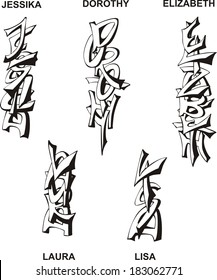 Stylized female names as monograms. Set of black and white vector illustrations.
