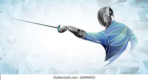 stylized fencing sport vector