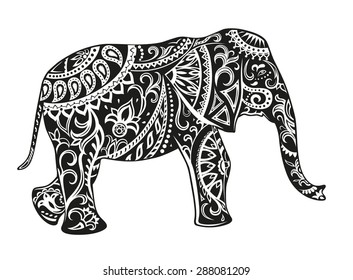 The stylized figure of an elephant in the festive patterns