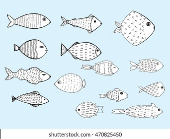 Stylized fishes. Aquarium fish. Ornamental fish. River fish. Sea fish. Children's drawing. Black and white drawing by hand. Line art. Set.