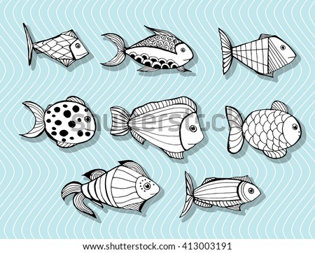 Stylized Fishes Aquarium Fish Ornamental Fish Stock Vector Royalty