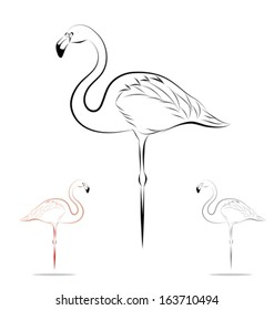 stylized flamingo - side view. Black outlines - vector illustration