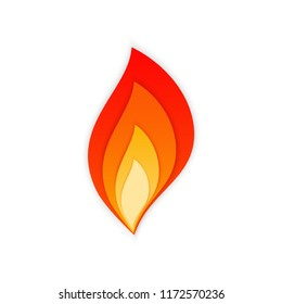 Stylized flare flames vector illustration. Hot blaze bonfire with red, orange and yellow fire flame shadowed layers isolated on white background for flammable danger sign or burning gas energy logo