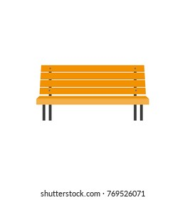 Stylized flat style wooden park bench, front view illustration isolated on white background. Flat style wooden bench, urban element, front view illustration