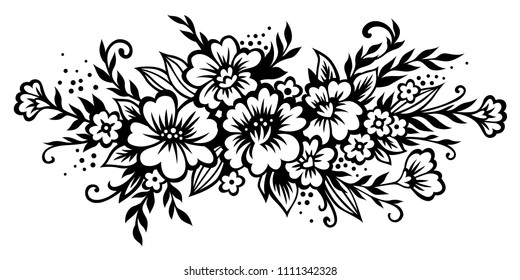 Black and white flowers images stock photos vectors shutterstock decorative composition of flowers leaves and twigs black vector mightylinksfo