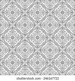 Stylized floral seamless pattern black and white. Vector illustration.