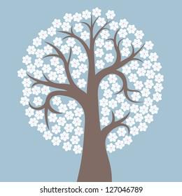stylized flowering tree on gray-blue background