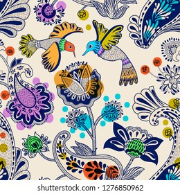 Stylized flowers and birds seamless pattern. Colorful decorative nature wallpaper. Cute floral background. Drawn flowers and plants backdrop. Design for textile, fabric, wrapping paper, cover, carpet