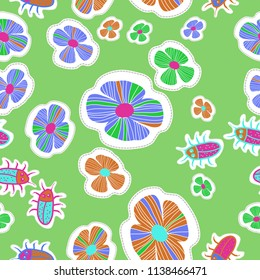Stylized flowers, doodles, beetles, dotted lines, labels seamless  pattern. Hand drawn.