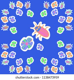 Stylized flowers, doodles, beetles, dotted lines, labels pattern. Hand drawn.