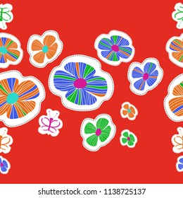 Stylized flowers, doodles, butterflies, dotted lines, labels  seamless pattern. Hand drawn.