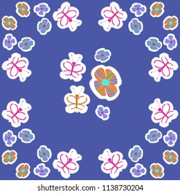 Stylized flowers, doodles, butterflies, dotted lines, labels pattern. Hand drawn.