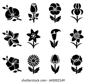 Stylized flowers icon set. Vector illustration.