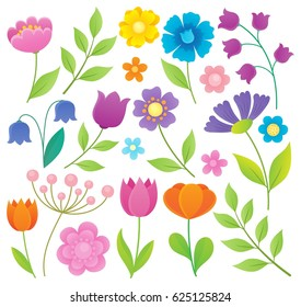 Stylized flowers topic set 1 - eps10 vector illustration.