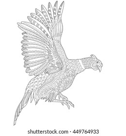 Stylized flying pheasant bird (cock, hen, phoenix), isolated on white background.  Freehand sketch for adult anti stress coloring book page with doodle and zentangle elements.