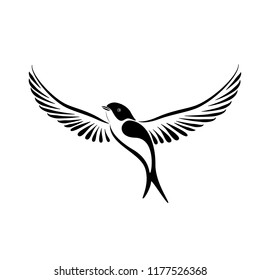 Stylized flying swallow label for logo concept. Vector illustration isolated on white background.
