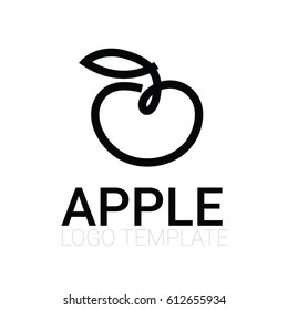 stylized food icons - line drawing of apple with leaf
