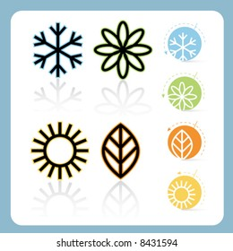Stylized Four Seasons Icon Set, easy-edit vector file
