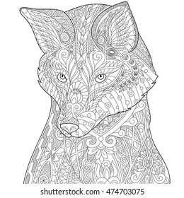 Stylized fox (wolf or dog), isolated on white background. Freehand sketch for adult anti stress coloring book page with doodle and zentangle elements.