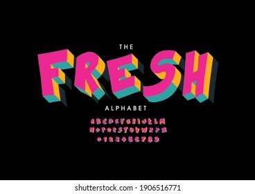 Stylized fresh alphabet font vector