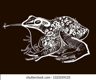 stylized frog, linear illustration dark background, Princess Frog