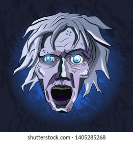 Stylized frosty dead with disheveled hair and blue glowing eyes screaming