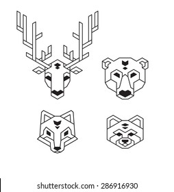 Stylized geometric animal heads (deer, bear, wolf or fox and red panda) in polygonal wireframe style.