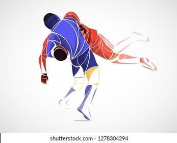 stylized, geometric athletes two. wrestling sport