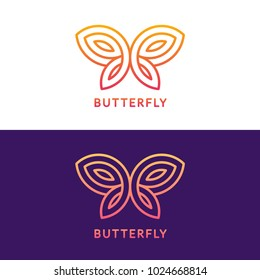 Stylized geometric butterfly logo design on white and dark purple background. Elegant vector illustration.