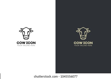 Stylized geometric cow head illustration. Vector icon tribal design