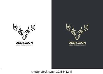 Stylized geometric deer head illustration. Vector icon tribal stag design