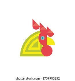Stylized geometric funny rooster. Vector illustration.