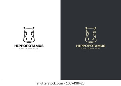Stylized geometric Hippopotamus head illustration. Vector icon tribal hippo design.