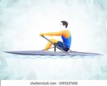 Stylized, geometric rowing, boating, canoeing, paddle, row vector