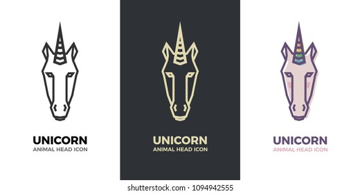 Stylized geometric Unicorn head illustration. Vector icon tribal icon. Colorful rainbow horn