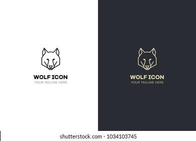 Stylized geometric wolf head illustration. Vector icon tribal design