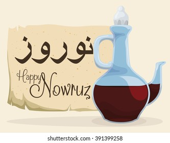 Stylized glass cruet with vinegar and ancient scroll with greeting message for Nowruz celebration.