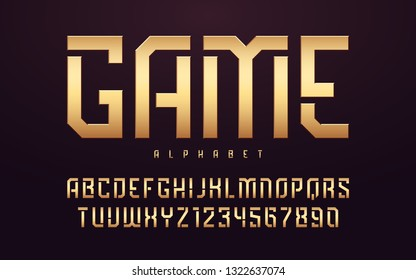 Stylized glossy golden uppercase letters, alphabet, typeface, font. Vector illustration.