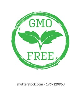Stylized GMO FREE lettering for banners, t-shirts, stickers and theme design, isolated on a white background