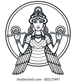 The stylized goddess Ishtar. The black silhouette isolated on a white background.