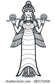 The stylized goddess Ishtar. Full growth. The black silhouette isolated on a white background.