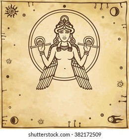 The stylized goddess Ishtar. A place for the text. Imitation of old paper.