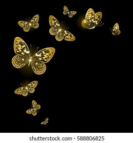 stylized gold butterflies on a black background